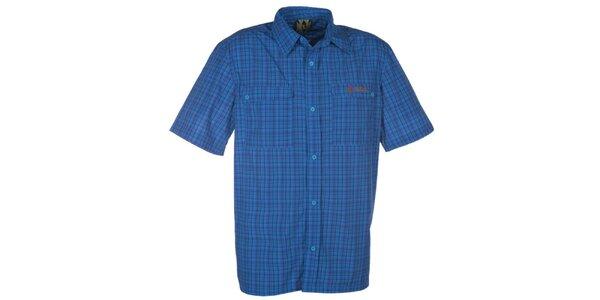 Pánska modrá košeľa s kockovaným vzorom Kilpi