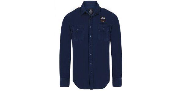 Pánska tmavo modrá košeľa s vreckami Giorgio Di Mare