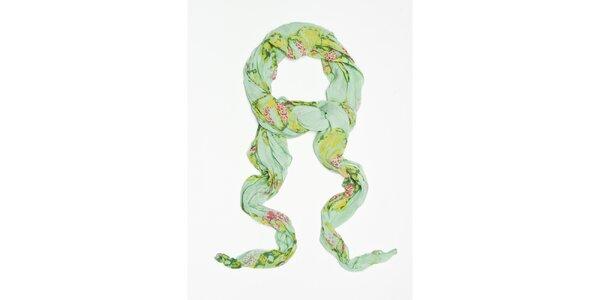 Dámska zelená šatka s potlačou motýlov