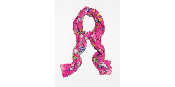 Dámska fuchsiová šatka s farebnými motýlikmi Bella Rosa