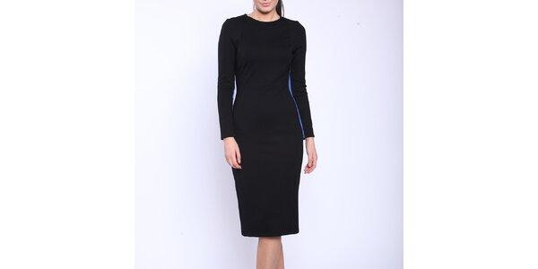 Dámske čierne šaty s modrými vsadkami Melli London