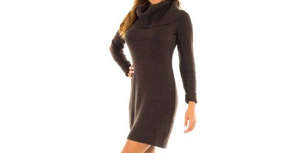 Dámske hnedé úpletové šaty Tommy Hilfiger