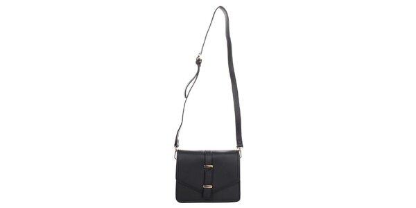 Dámska čierna kabelka s klopou Caro Paris