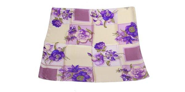 Dámska krémovo-fialová hodvábna šatka s kvetinovým vzorom Gianfranco Ferré