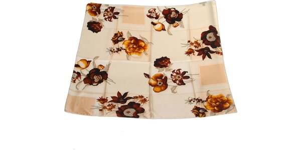 Dámska hnedo-krémová hodvábna šatka s kvetinovým vzorom Gianfranco Ferré