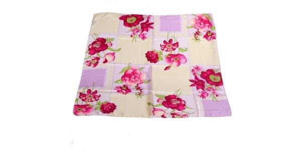 Dámska ružovo-krémová hodvábna šatka s kvetinovým vzorom Gianfranco Ferré