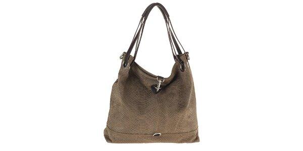 Dámska kožená vzorovaná kabelka s karabínou Tina Panicucci