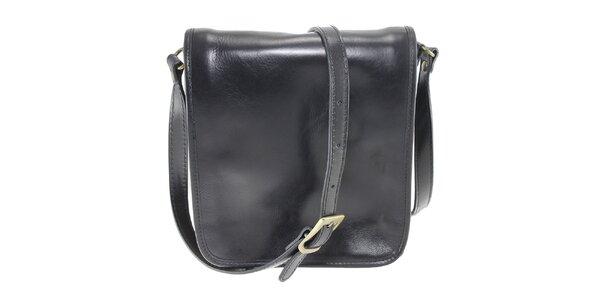 Dámska čierna kožená taška cez rameno Florence Bags