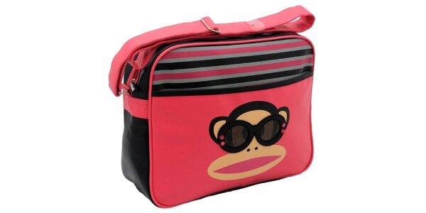 Ružová taška s pruhmi a okuliarnatou opicou Paul Frank