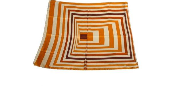 Dámska pomarančovo-hnedá hodvábna šatka s pruhmi Gianfranco Ferré