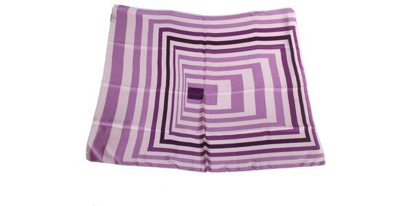 Dámska fialovo-krémová hodvábna šatka s pruhmi Gianfranco Ferré