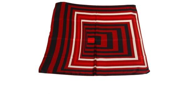 Dámska čierno-červená hodvábna šatka s pruhmi Gianfranco Ferré