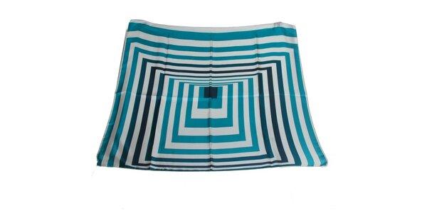 Dámska krémovo-modrá hodvábna šatka s pruhmi Gianfranco Ferré