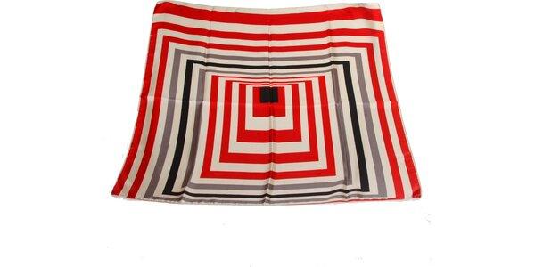 Dámska červeno-šedá hodvábna šatka s pruhmi Gianfranco Ferré