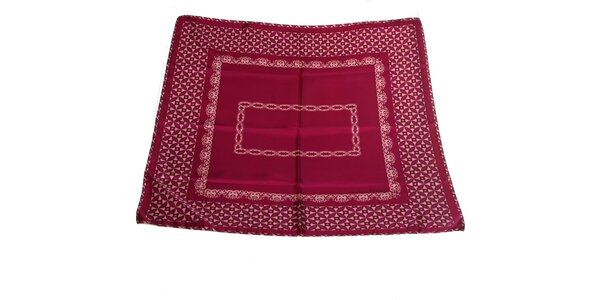 Dámska rubínovo červená hodvábna šatka s ružovou potlačou Gianfranco Ferré