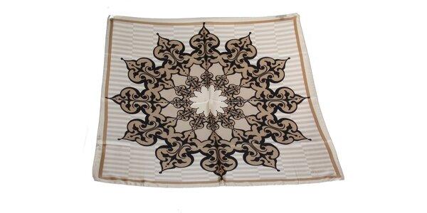 Dámska šedo-béžová vzorovaná hodvábna šatka s prúžkami Gianfranco Ferré