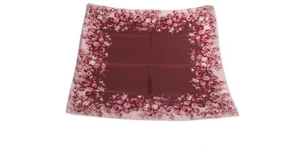 Dámska purpurovo červená hodvábna šatka s bodkami Gianfranco Ferré