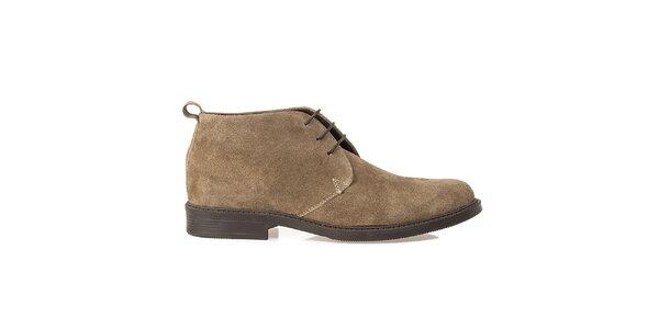 Pánske béžové kožené poltopánky Crash Shoes