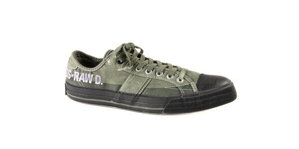 Pánske zelené textilné tenisky G-Star Raw s čiernou gumou
