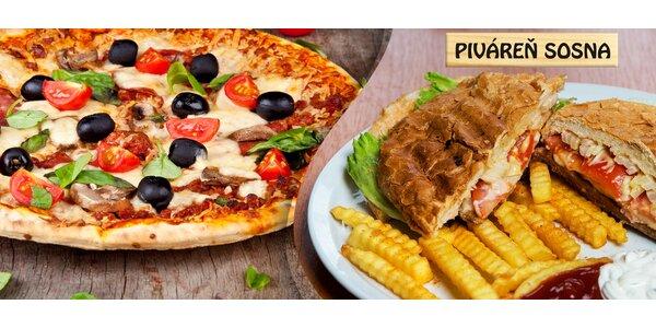 18 druhov pizze alebo hamburger s hranolčekmi