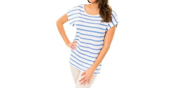 Dámske biele tričko s modrými prúžkami Tommy Hilfiger