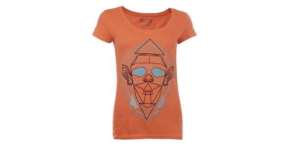 Dámske oranžové tričko s geometrickou potlačou Big Star