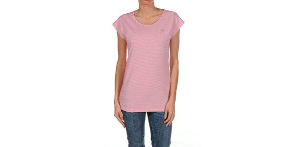 Dámske ružovo prúžkované tričko Fred Perry