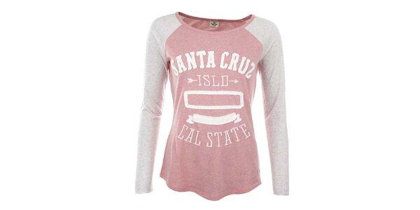 Dámske ružové tričko s našitým nápisom Timeout