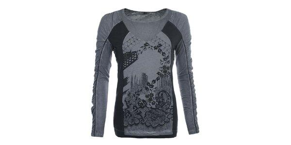 Dámske šedé vzorované tričko Angels Never Die