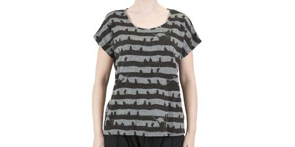Dámske šedo-čierne pruhované tričko s mačičkami Ginger and Soul