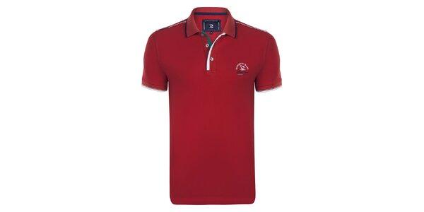 Pánske červené polo tričko s prúžkom na golieri Giorgio Di Mare