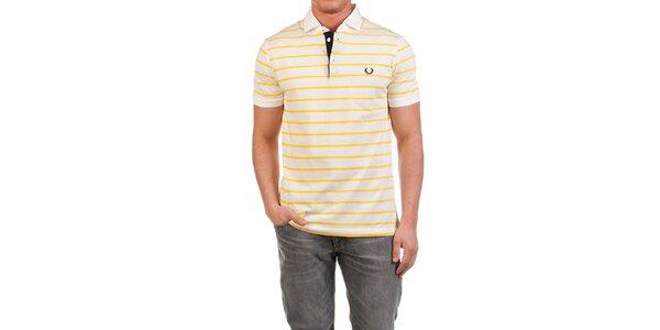 Pánske polo tričko so žltými prúžkami Fred Perry