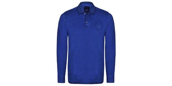 Pánske tmavo modré polo tričko s dlhým rukávom Giorgio di Mare