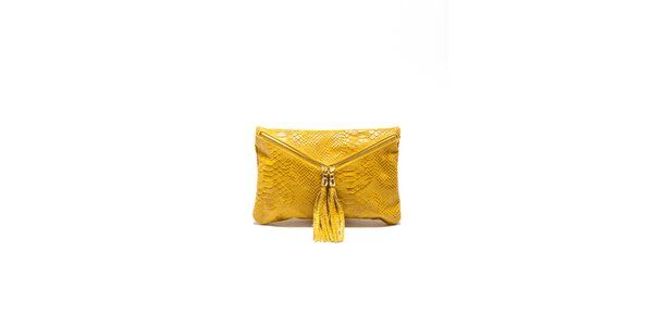 Dámska žltá hadia kabelka Roberta Minelli so strapcami