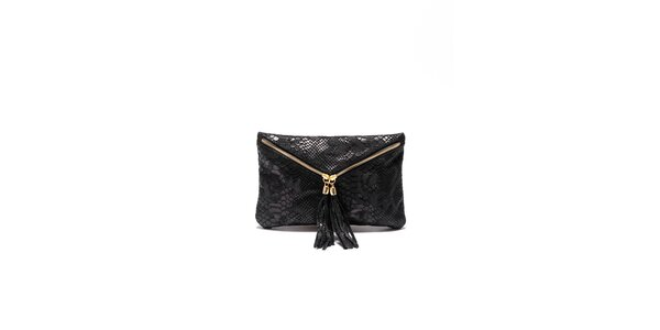 Dámska čierna hadia kabelka Roberta Minelli so strapcami