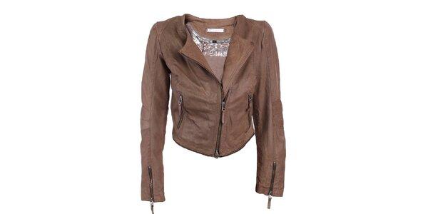 Dámska hnedá kožená bunda s odopínacím lemom Company&Co