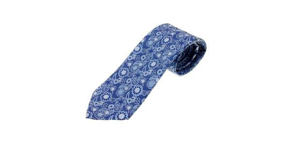 Pánska žiarivo modrá kravata Ballantyne s kvetinovým vzorom