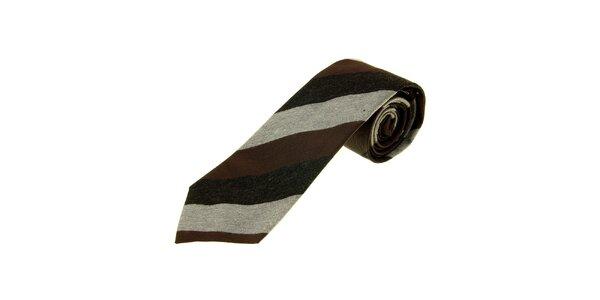 Pánska hnedo-šedá prúžkovaná kravata Gianfranco Ferré