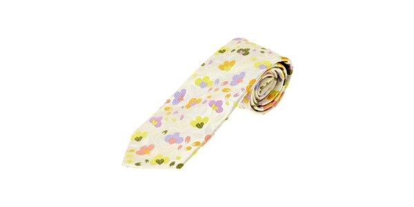 Pánska krémová kravata Gianfranco Ferré s kvetinovým motívom