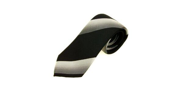 Pánska černo-strieborná kravata Gianfranco Ferré so širokými prúžkami