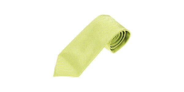 Pánska limetkovo zelená kravata Gianfraco Ferré s jemným vzorom