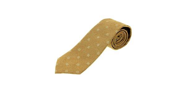 Pánska svetlo hnedá kravata Gianfranco Ferré s kostičkami