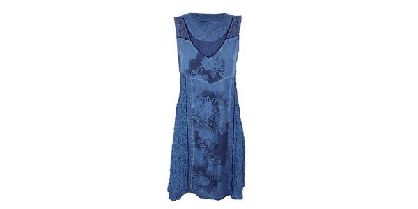 Dámske modré šaty s potlačou a čipkou Angels Never Die