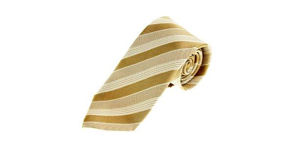 Pánska béžová saténová kravata Gianfranco Ferré