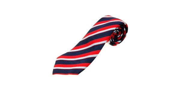 Pánska modro-červená prúžkovaná kravata Les Copains