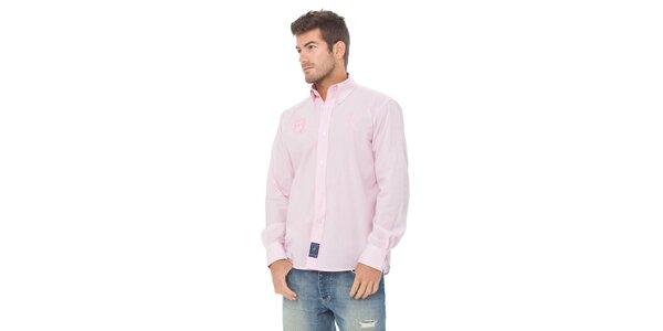 Pánska svetlo ružová kockovaná košeľa Valecuatro s výšivkou
