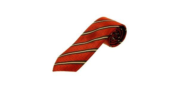 Pánska oranžovočervená kravata Gianfranco Ferré s prúžkami