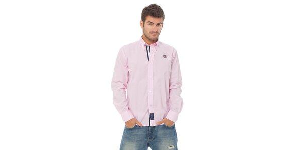 Pánska svetlo ružová prúžkovaná košeľa Valecuatro s výšivkou
