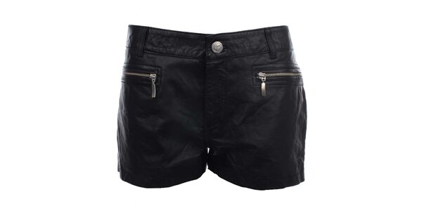 Dámske čierne kožené šortky MOCUISHLE