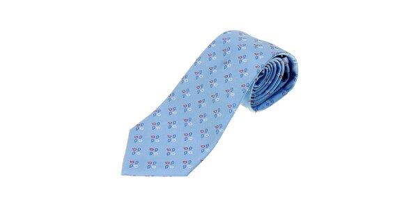 Pánska nebesky modrá kravata Les Copains s jemným vzorom